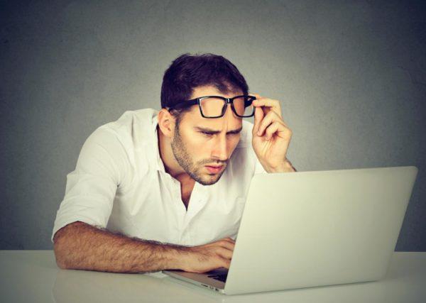 Плохое зрение у мужчины